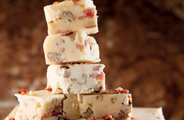 Buttermilk fudge with bacon and pecans recipe