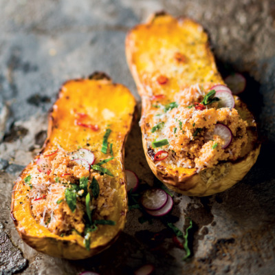 Butternut stuffed with spinach-and-tomato couscous