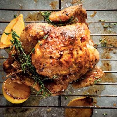 Feta, garlic and winter herb roast chicken