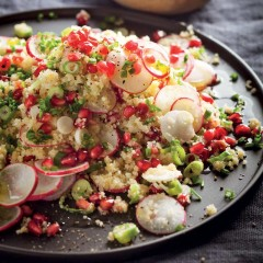 Jewelled cauliflower rice tossed with spring onion, radishes and pomegranates
