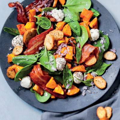 Roast butternut, bacon and spinach salad