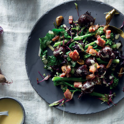 Roast garlic and beetroot salad