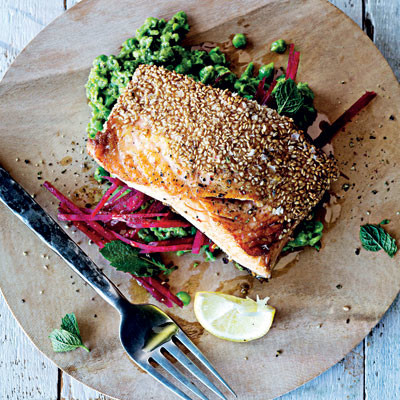 Sesame-crusted seared salmon with crushed minted peas and beetroot