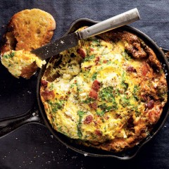 Swiss chard and feta frittata with crispy bacon