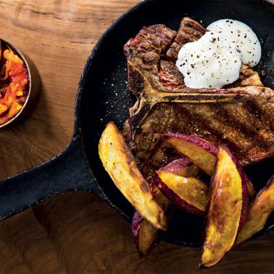 T-bone steak with buttermilk sauce and chakalaka