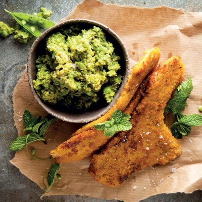 Woolworths pork schnitzels with quick smashed minted peas