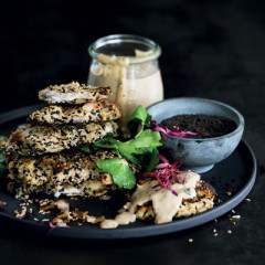 Coconut-and sesame-crumbed chicken with satay sauce