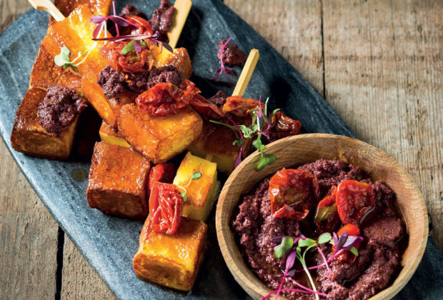 Grilled halloumi skewers with olive tapenade recipe