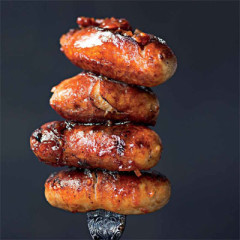 Honey and chipotle glazed pork sausages