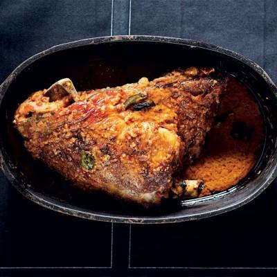Indian-spiced lamb shoulder