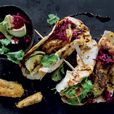 Parmesan-and almond-crusted fish tortillas with smoked paprika oil