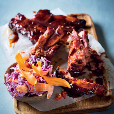 Sticky beef ribs with Asian slaw