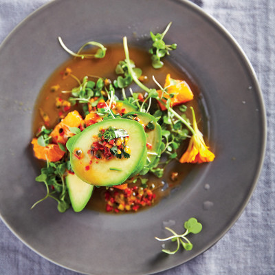 Avocado and Clemengold with chilli-and-granadilla dressing