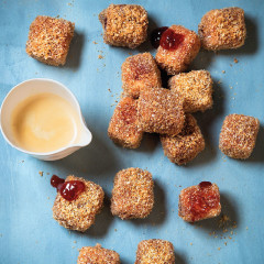 Coconut-and-jam lamingtons