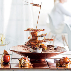 Camembert tower with butterscotch sauce and pecan sugar shards