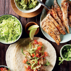 Fish tacos with smashed avocado and tomato salsa
