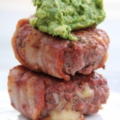 Cheese-Stuffed Burgers Wrapped in Bacon