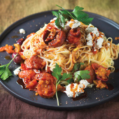 Olive, chorizo and cherry tomato pasta