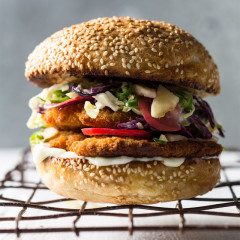 Pork schnitzel and pineapple slaw burger