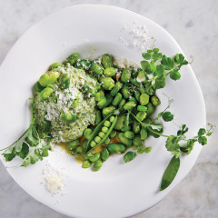 Vibrant broad beans with asparagus, pea and anchovy dip