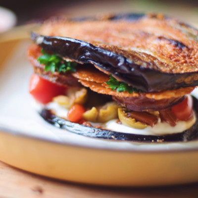 Grilled Aubergine Sarmie with Smoked Mozzarella