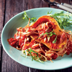 Baked butternut with tomato pasta and chorizo