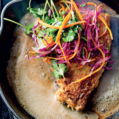 Crumbed, thick-cut pork chops with chipotle-flavoured slaw