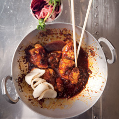 Korean sticky stir-fried chicken with beetroot onion pickle