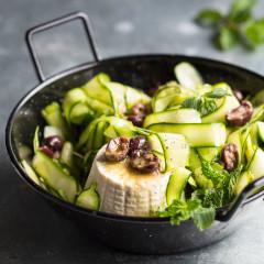 Marinated raw baby marrow, ricotta and olive salad