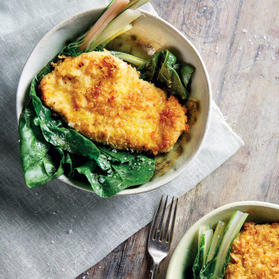 Panko-Parmesan chicken escalopes