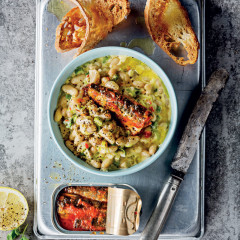 Portuguese sardines with creamy cannellini beans and toast