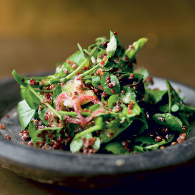 Red quinoa and watercress salad