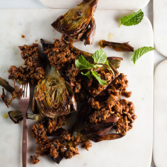 Roast artichokes with Korean Bolognese