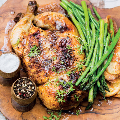 Roast cranberry, apple and sage free-range chicken