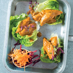 Thai red chicken curry lettuce cups