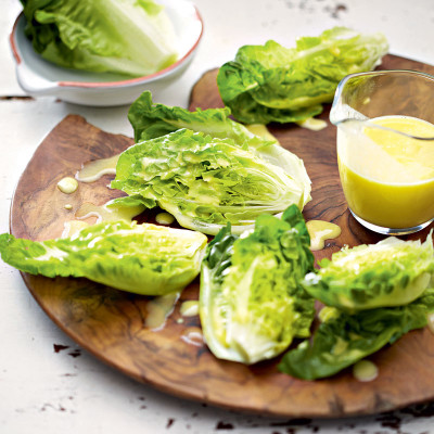 Baby lettuce with whisked dressing