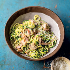 Baby marrow spaghetti with ham and mushrooms