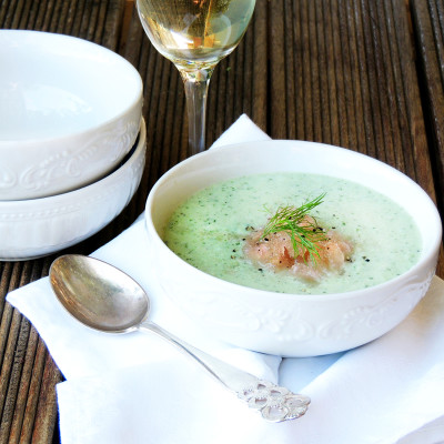 Cucumber-and-herb soup with verjuice granita