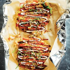 Prawn-and-cabbage okonomiyaki