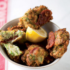 Baby marrow and chorizo fritters
