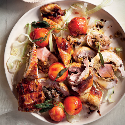 Christmas roast platter with verjuice-poached peaches