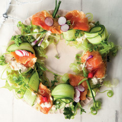 Gold oak-smoked trout salad wreath