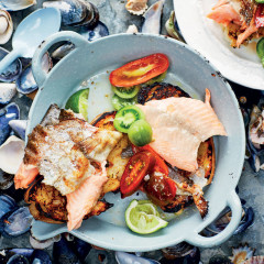Smoky trout on charred toast with exotic tomato salad