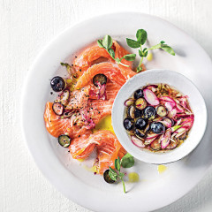Ceviche-style blueberry trout