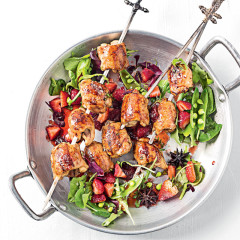 Chargrilled chicken skewers with spiced berry glaze