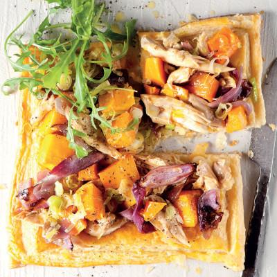 Open chicken-and-roast vegetable pie