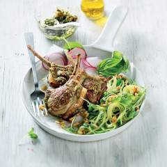"Pesto-stuffed lamb rib chops with baby marrow ""pasta"""