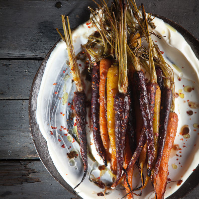 Roast carrots in tamarind dressing with yoghurt