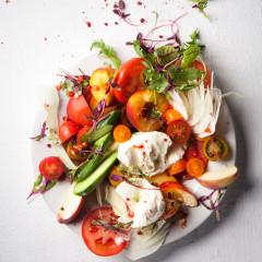 Tumbled tomato-and-peach salad