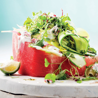 Juicy watermelon salad with cucumber and chilli yoghurt